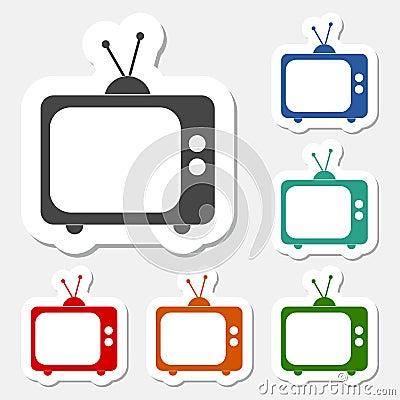 Tv icon sticker set Vector Illustration