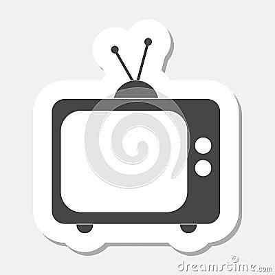 Tv icon sticker Vector Illustration