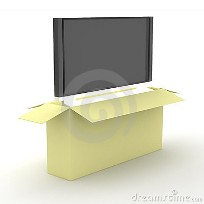 Free TV In A Packing Box. Stock Photography - 5586282