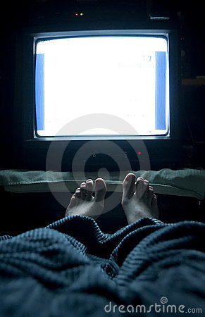 Free TV In Bed Royalty Free Stock Photos - 13967918