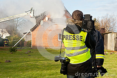 TV interview at house fire
