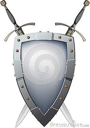 Två korsade svärd som är bak skölden