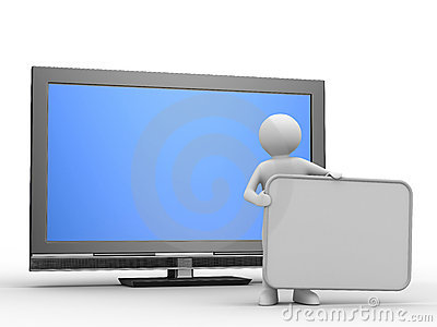 TV and man on white background