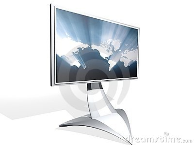 TV monitor with map