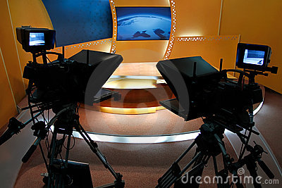 TV News Studio Stock Image - Image: 14081631