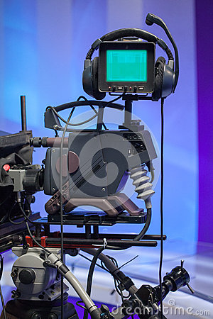 TV NEWS studio with camera