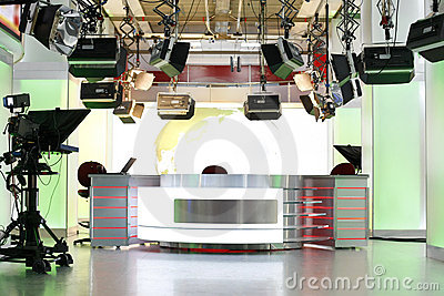 TV news studio setup