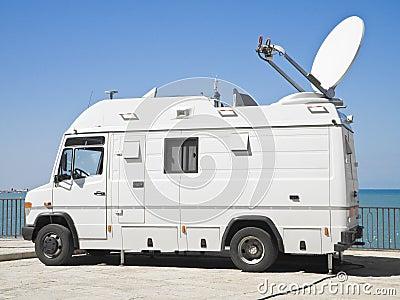 Tv news truck.