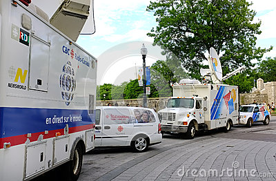 Tv news truck Editorial Photography