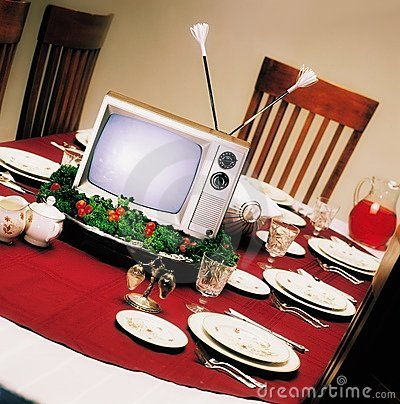 Tv On Platter On Dinner Table