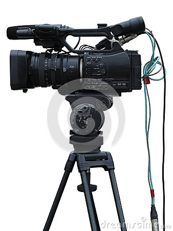 Free TV Professional Studio Digital Video Camera Isolated On White Stock Images - 35001414