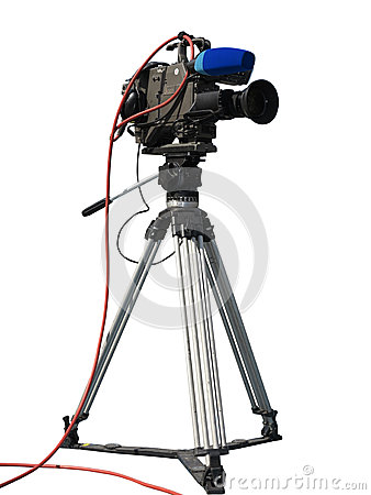 Free TV Professional Studio Digital Video Camera On Tripod Isolated O Stock Image - 35001441