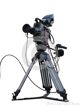 TV Professional studio digital video camera on tripod isolated o