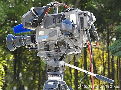 TV Professional studio digital video camera on tripod