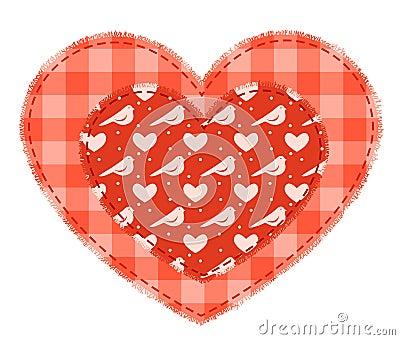 Två röda patchworkhjärtor