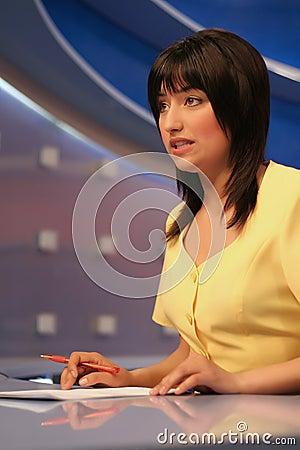 TV reporter in studio