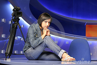 TV reporter in studio