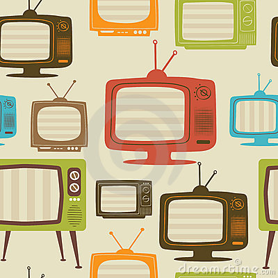 Free Tv Retro Seamless Pattern. Vector Illustration. Royalty Free Stock Photo - 22820065