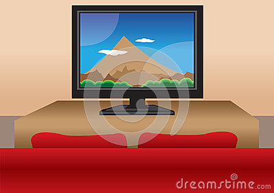 TV screen with sofa