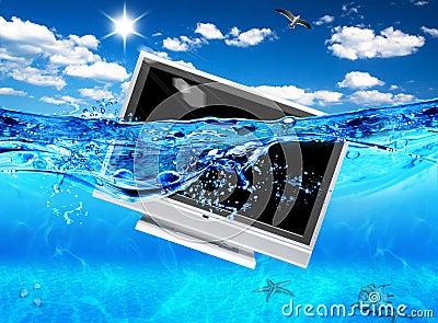 TV in sea