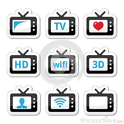 TV set, 3d, HD  icons set