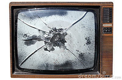 TV with a smashed screen