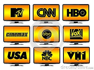 TV Stations Logos Editorial Stock Photo