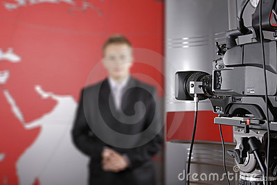Tv studio and close up of video camera Editorial Photography