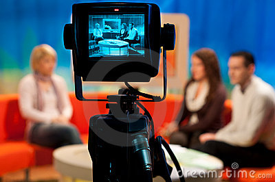 TV studio - Video camera viewfinder Editorial Stock Photo