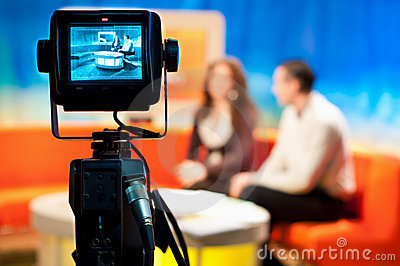 TV studio - Video camera viewfinder Editorial Stock Image