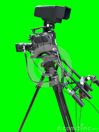 TV television video camera isolated on green