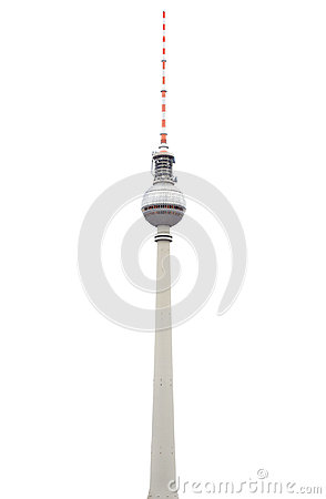Free Tv Tower In Berlin On White Royalty Free Stock Photography - 26477687