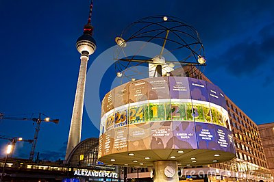 Tv tower and world clock night view in Berlin Editorial Stock Image