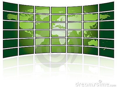 TV wall with world map
