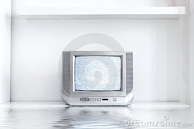 TV in white interior