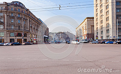 Tverskaya street from Manege square in Moscow Editorial Stock Image