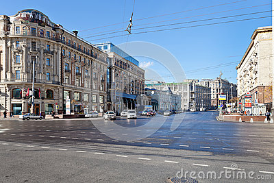 Tverskaya street from Manege square in Moscow Editorial Photography
