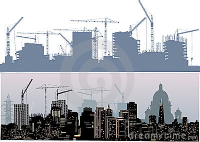 Twe cities landscapes silhouettes