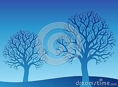 Twee blauwe bomen