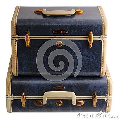 Twee blauwe uitstekende koffers