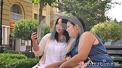 Twee grote aardige Kaukasische meisjes die kou spreken en smartphone op de bank houden openlucht stock footage