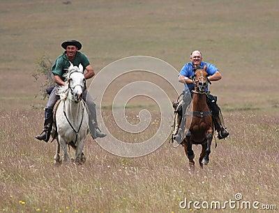 Twee mensen die paarden berijden bij snelheid