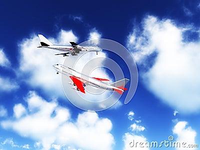 Twee Vliegtuigen in de Hemel