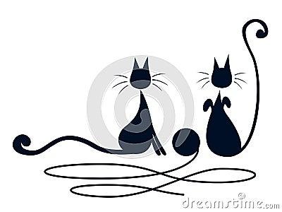 Twee zwarte katten