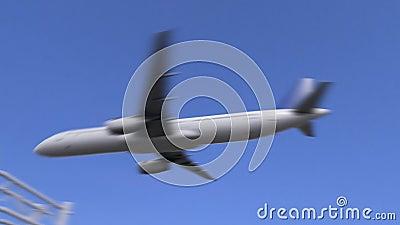 Tweelingmotor commercieel vliegtuig die aan de luchthaven van Damascus aankomen Het reizen naar de conceptuele 4K animatie van Sy stock videobeelden