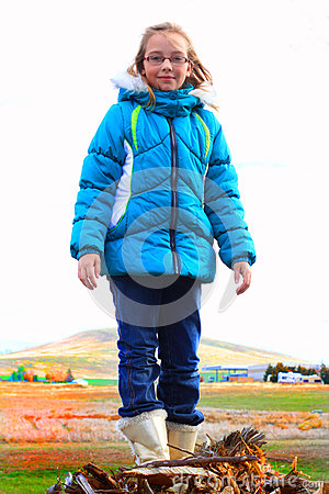 tween in warm clothes stock image image 35078841