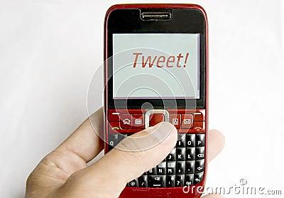 Tweet  on a mobile phone