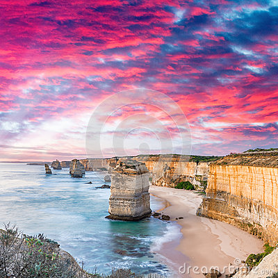 Free Twelve Apostles At Sunrise, Amazing Natural Landscape Of Great O Stock Photos - 79867683