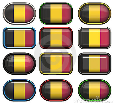 Twelve buttons of the Flag of Belgium
