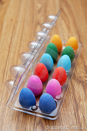Twelve colorful chocolate easter eggs